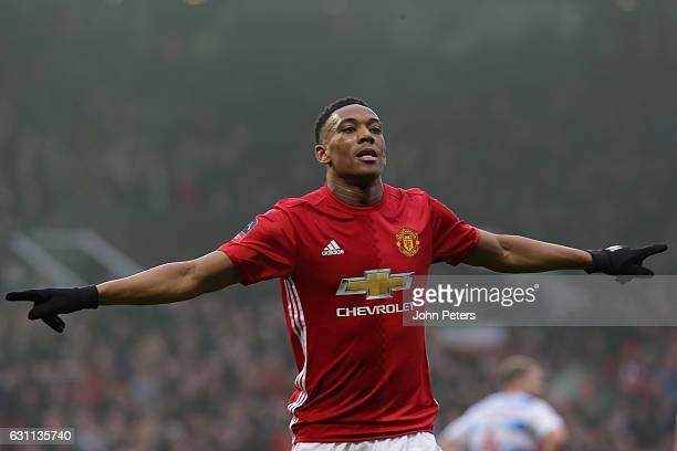 Anthony Martial of Manchester United celebrates scoring their second goal during the Emirates FA Cup Third Round match between Manchester United and...