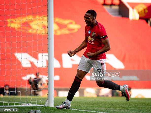 Anthony Martial of Manchester United celebrates scoring their third goal during the Premier League match between Manchester United and Sheffield...