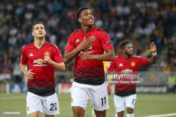 Anthony Martial of Manchester United celebrates the third goal for Manchester during the Group H match of the UEFA Champions League between BSC Young...