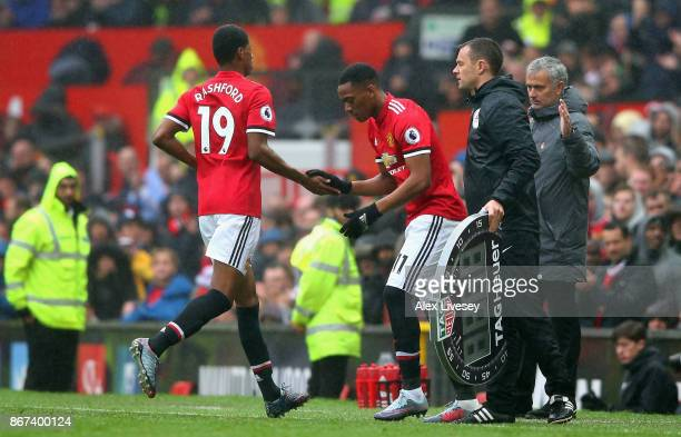 Anthony Martial of Manchester United comes on for Marcus Rashford of Manchester United during the Premier League match between Manchester United and...