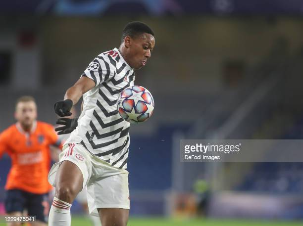 Anthony Martial of Manchester United controls the ball during the UEFA Champions League Group H stage match between Istanbul Basaksehir and...