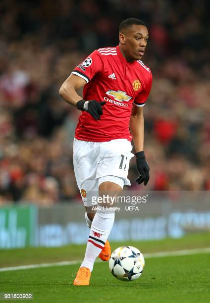 Anthony Martial of Manchester United controls the ball during the UEFA Champions League Round of 16 Second Leg match between Manchester United and...