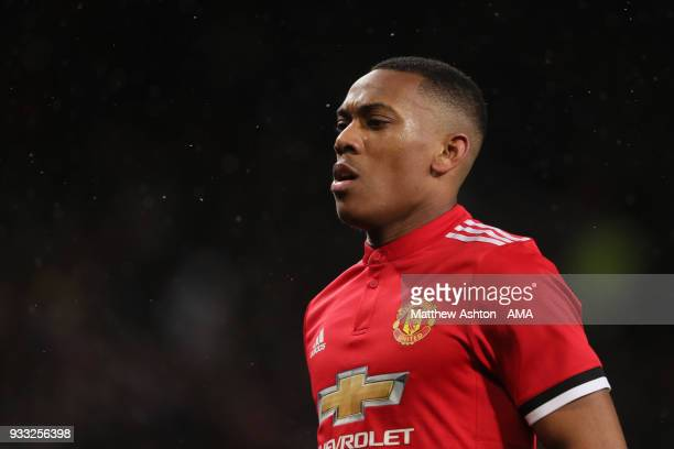 Anthony Martial of Manchester United during the FA Cup Quarter Final match between Manchester United and Brighton Hove Albion at Old Trafford on...