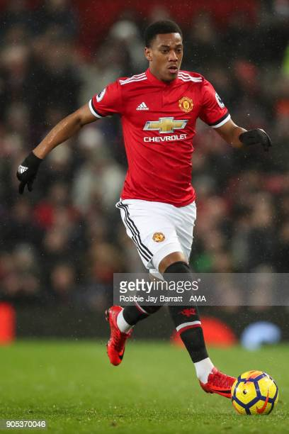 Anthony Martial of Manchester United during the Premier League match between Manchester United and Stoke City at Old Trafford on January 15 2018 in...