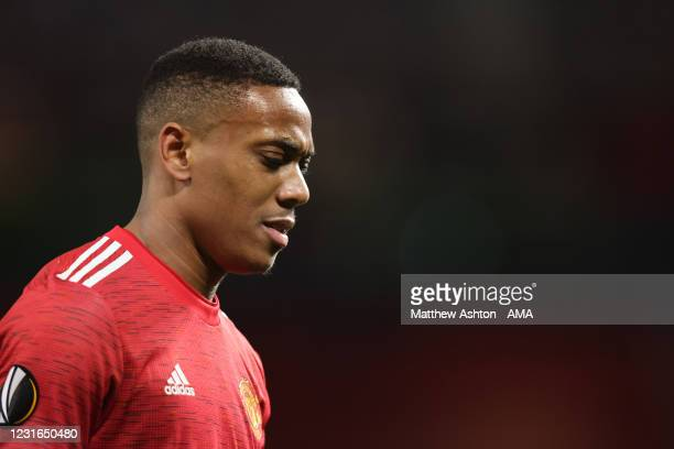 Anthony Martial of Manchester United during the UEFA Europa League Round of 16 First Leg match between Manchester United and A.C. Milan at Old...