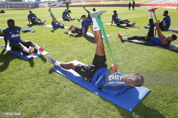 Anthony Martial of Manchester United in action during a first team training session at the WACA on July 12 2019 in Perth Australia