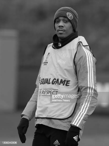 Anthony Martial of Manchester United in action during a first team training session at Aon Training Complex on March 10, 2021 in Manchester, England.