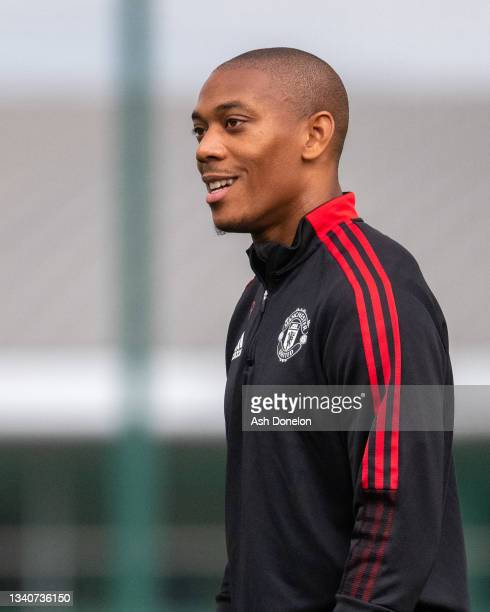 Anthony Martial of Manchester United in action during a first team training session at Carrington Training Ground on September 16, 2021 in...