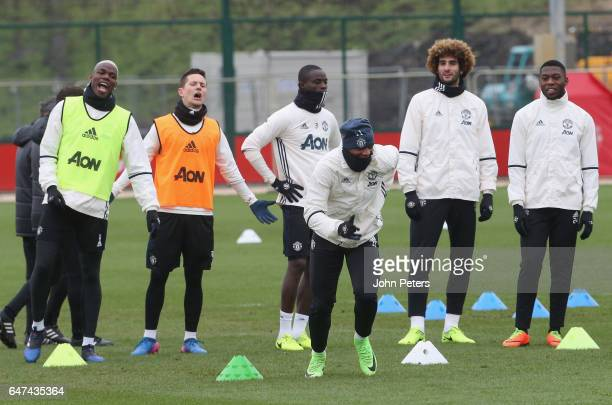 Anthony Martial of Manchester United in action during a first team training session at Aon Training Complex on March 3 2017 in Manchester England
