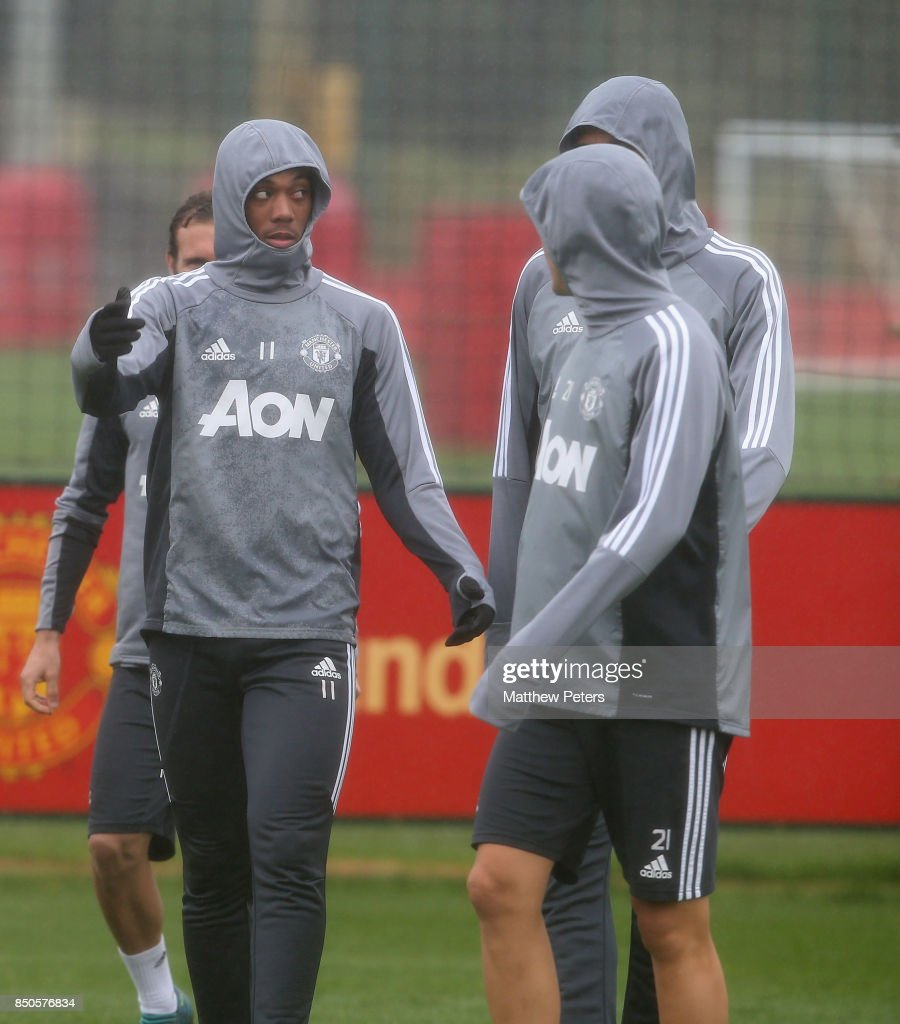 Anthony Martial of Manchester United in action during a first team training session at Aon Training Complex on September 21, 2017 in Manchester, England.