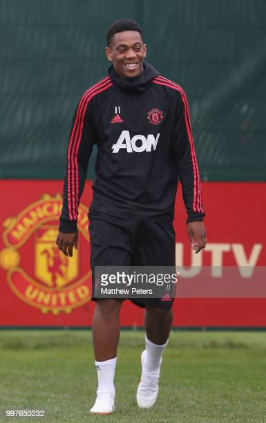 Anthony Martial of Manchester United in action during a first team training session at Aon Training Complex on July 13 2018 in Manchester England