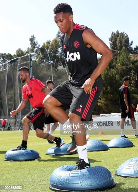 Anthony Martial of Manchester United in action during a Manchester United preseason training session at UCLA on July 16 2018 in Los Angeles California