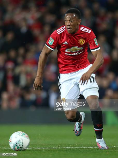 Anthony Martial of Manchester United in action during the Carabao Cup Third Round match between Manchester United and Burton Albion at Old Trafford...