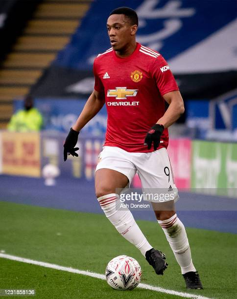 Anthony Martial of Manchester United in action during the Emirates FA Cup Quarter Final match between Leicester City and Manchester United at The...