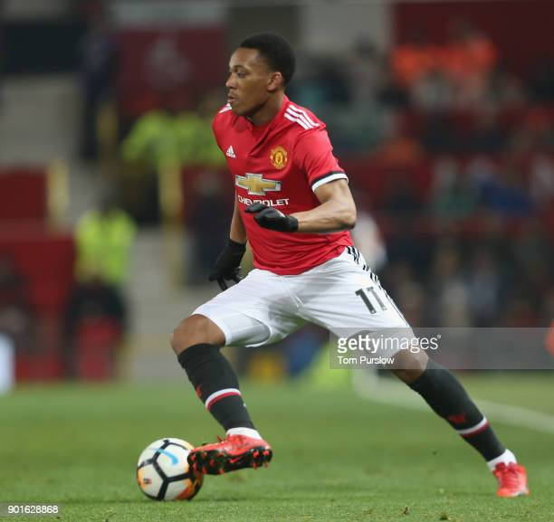 Anthony Martial of Manchester United in action during the Emirates FA Cup Third Round match between Manchester United and Derby County at Old...
