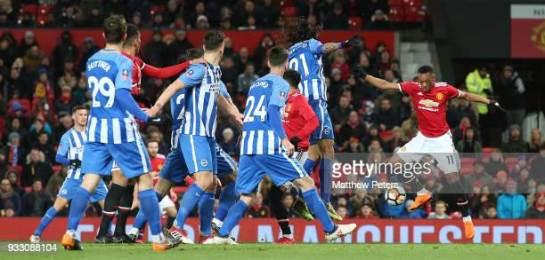 Anthony Martial of Manchester United in action during the Emirates FA Cup Quarter Final match between Manchester United and Brighton Hove Albion at...