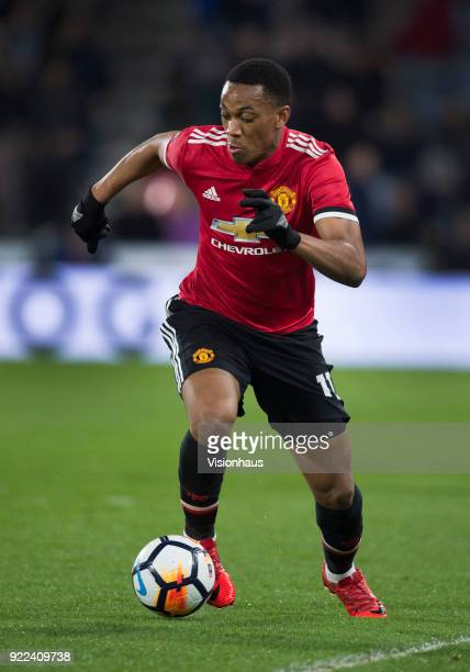 Anthony Martial of Manchester United in action during the FA Cup Fifth Round match between Huddersfield Town and Manchester United at the Kirklees...