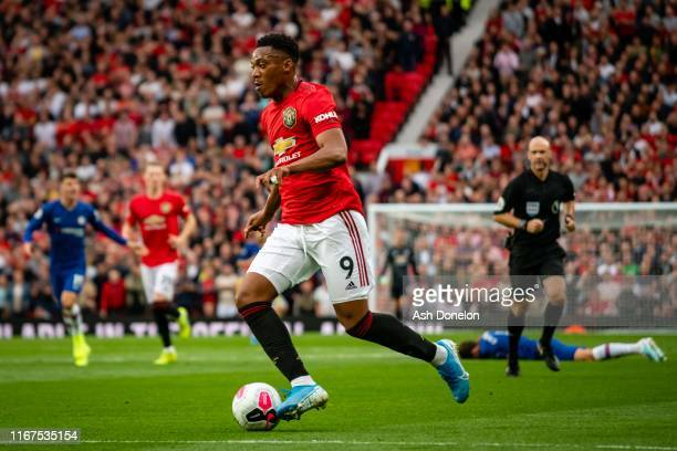 Anthony Martial of Manchester United in action during the Premier League match between Manchester United and Chelsea FC at Old Trafford on August 11...