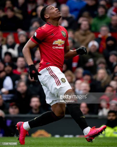 Anthony Martial of Manchester United in action during the Premier League match between Manchester United and Watford FC at Old Trafford on February...