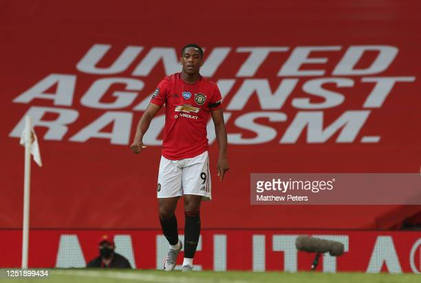 Anthony Martial of Manchester United in action during the Premier League match between Manchester United and Sheffield United at Old Trafford on June...