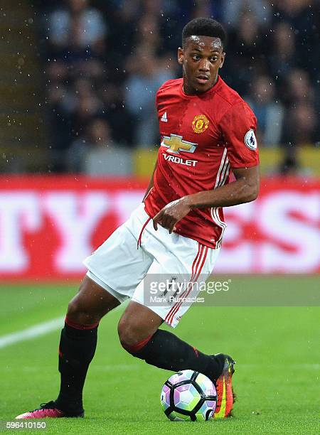 Anthony Martial of Manchester United in action during the Premier League match between Hull City and Manchester United at KCOM Stadium on August 27...