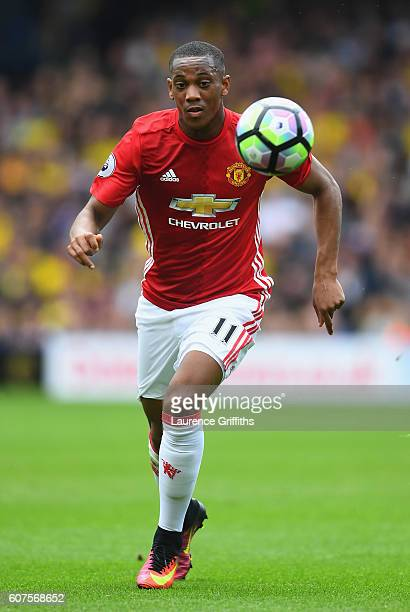 Anthony Martial of Manchester United in action during the Premier League match between Watford and Manchester United at Vicarage Road on September 18...