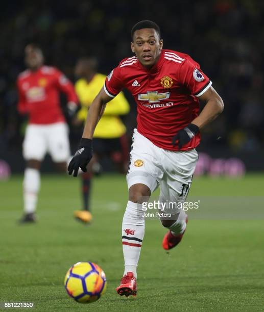 Anthony Martial of Manchester United in action during the Premier League match between Watford and Manchester United at Vicarage Road on November 28...