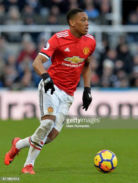 Anthony Martial of Manchester United in action during the Premier League match between Newcastle United and Manchester United at St James Park on...