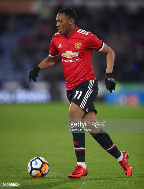 Anthony Martial of Manchester United in action during the The Emirates FA Cup Fifth Round between Huddersfield Town v Manchester United on February...