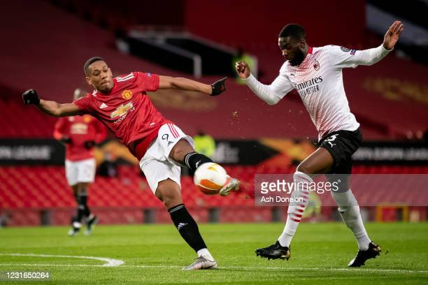 Anthony Martial of Manchester United in action during the UEFA Europa League Round of 16 First Leg match between Manchester United and A.C. Milan at...