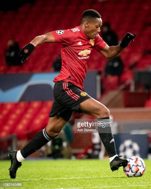 Anthony Martial of Manchester United in action during the UEFA Champions League Group H stage match between Manchester United and RB Leipzig at Old...