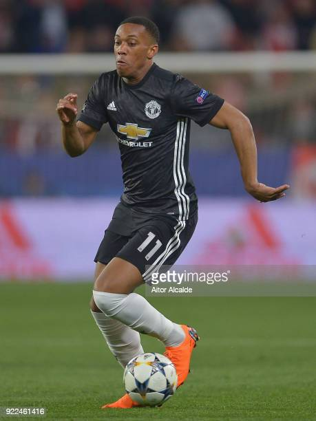 Anthony Martial of Manchester United in action during the UEFA Champions League Round of 16 First Leg match between Sevilla FC and Manchester United...