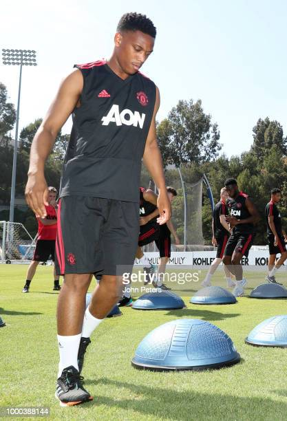 Anthony Martial of Manchester United in action with his teammates during a Manchester United preseason training session at UCLA on July 16 2018 in...