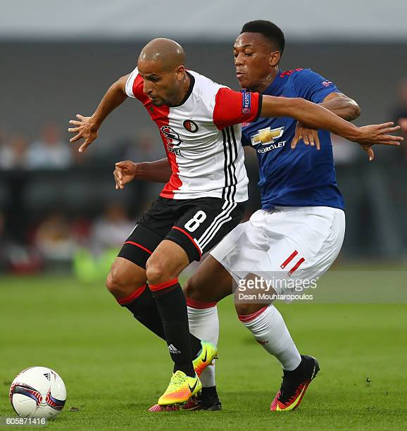 Anthony Martial of Manchester United is blocked by Karim El Ahmadi of Feyenoord during the UEFA Europa League Group A match between Feyenoord and...