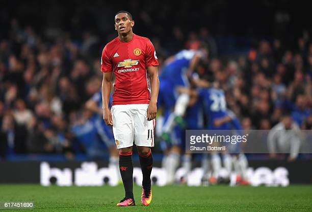 Anthony Martial of Manchester United looks dejected as Chelsea score their fourth goal during the Premier League match between Chelsea and Manchester...
