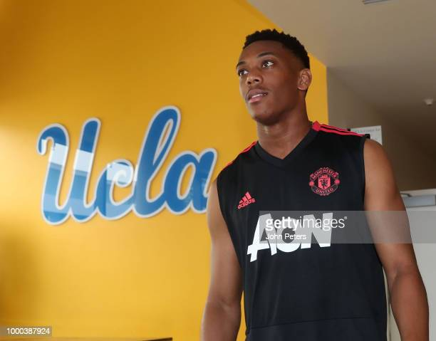 Anthony Martial of Manchester United looks on during a Manchester United preseason training session at UCLA on July 16 2018 in Los Angeles California