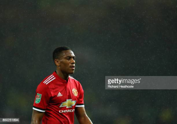 Anthony Martial of Manchester United looks on during the Carabao Cup Third Round match between Manchester United and Burton Albion at Old Trafford on...