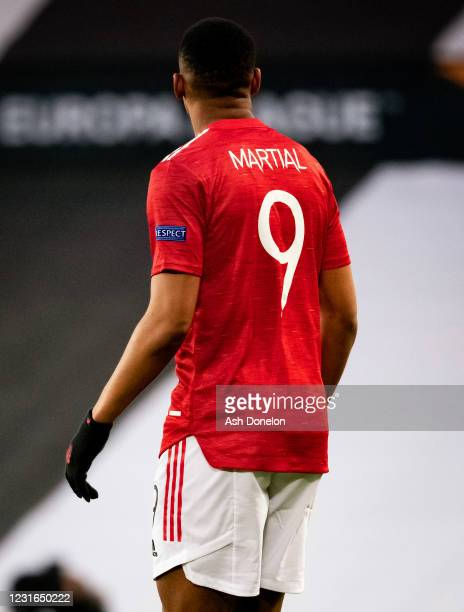 Anthony Martial of Manchester United looks on during the UEFA Europa League Round of 16 First Leg match between Manchester United and A.C. Milan at...