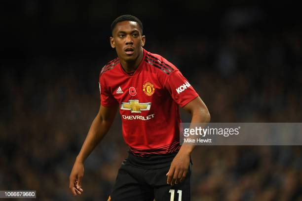 Anthony Martial of Manchester United loos on during the Premier League match between Manchester City and Manchester United at Etihad Stadium on...
