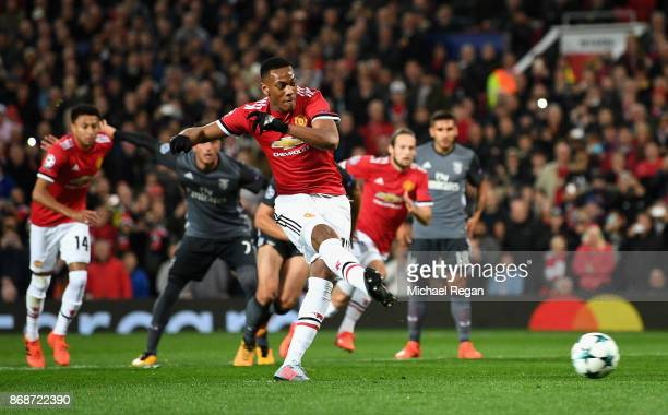 Anthony Martial of Manchester United misses a penalty opportunity during the UEFA Champions League group A match between Manchester United and SL...