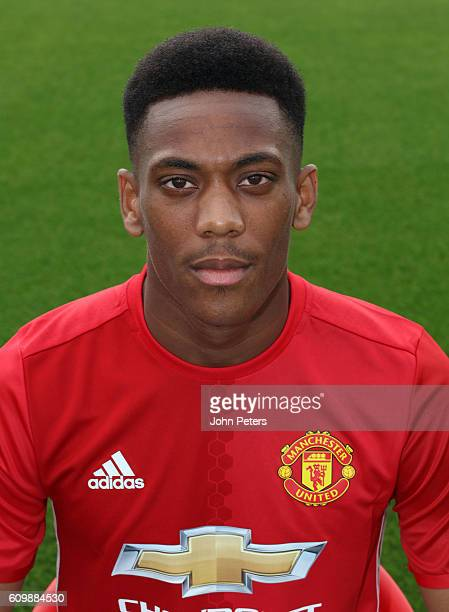 Anthony Martial of Manchester United poses for a portrait at the Manchester United Official Photocall on September 19 2016 in Manchester England
