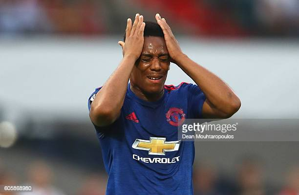 Anthony Martial of Manchester United reacts after a missed chance during the UEFA Europa League Group A match between Feyenoord and Manchester United...
