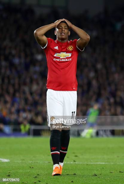 Anthony Martial of Manchester United reacts during the Premier League match between Brighton and Hove Albion and Manchester United at Amex Stadium on...