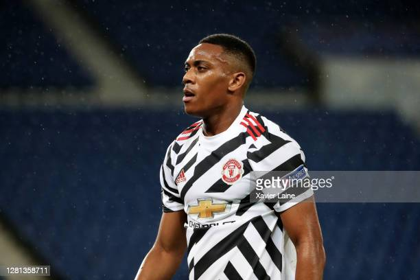 Anthony Martial of Manchester United reacts during the UEFA Champions League Group H stage match between Paris SaintGermain and Manchester United at...