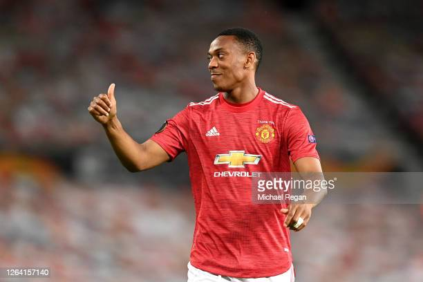 Anthony Martial of Manchester United reacts during the UEFA Europa League round of 16 second leg match between Manchester United and LASK at Old...