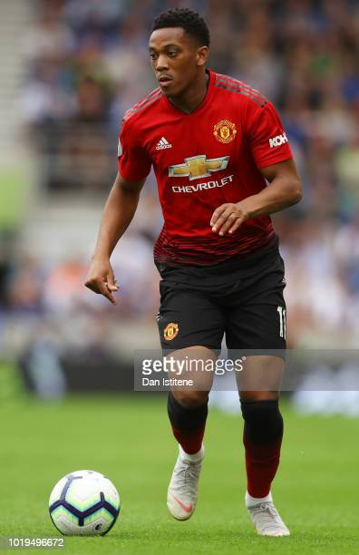 Anthony Martial of Manchester United runs with the ball during the Premier League match between Brighton Hove Albion and Manchester United at...
