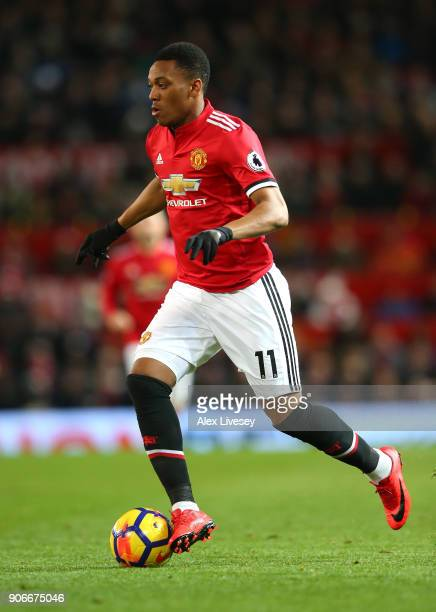 Anthony Martial of Manchester United runs with the ball during the Premier League match between Manchester United and Southampton at Old Trafford on...