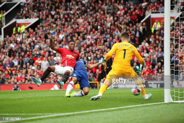 Anthony Martial of Manchester United scores a goal to make it 20 during the Premier League match between Manchester United and Chelsea FC at Old...