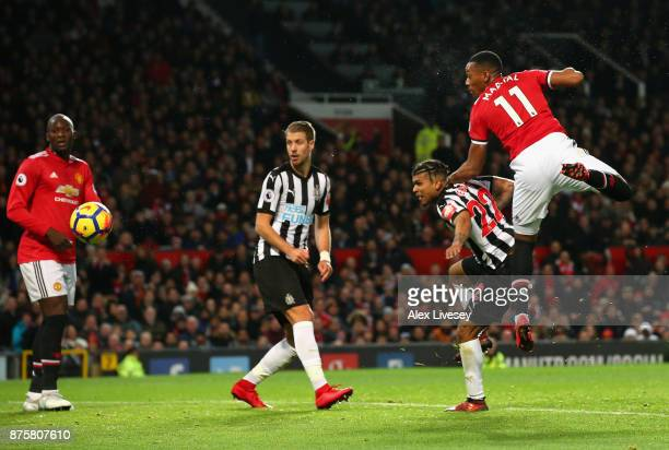 Anthony Martial of Manchester United scores his sides first goal during the Premier League match between Manchester United and Newcastle United at...