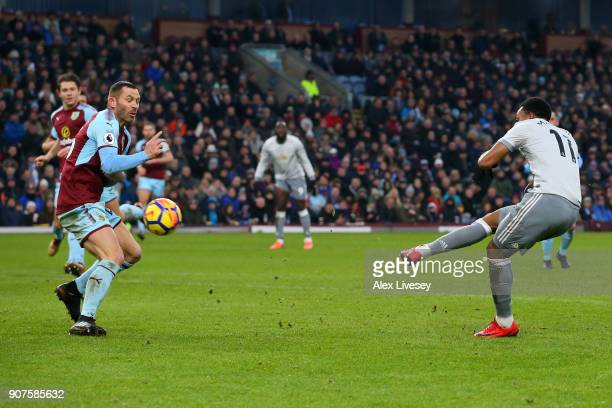 Anthony Martial of Manchester United scores his sides first goal during the Premier League match between Burnley and Manchester United at Turf Moor...